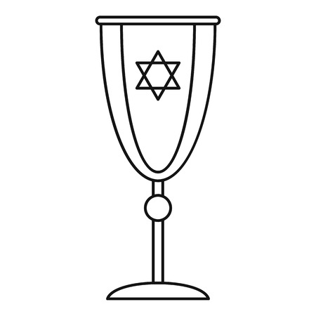 Jewish silver cup icon, outline style