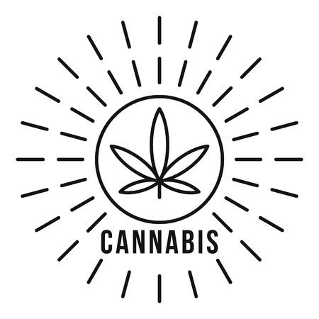 Cannabis on sun outline style