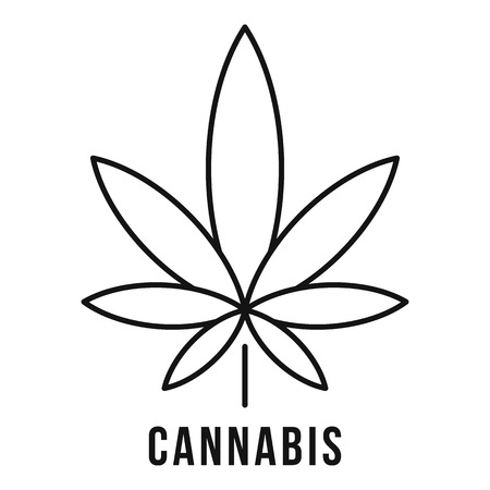Fresh cannabis leaf  outline style
