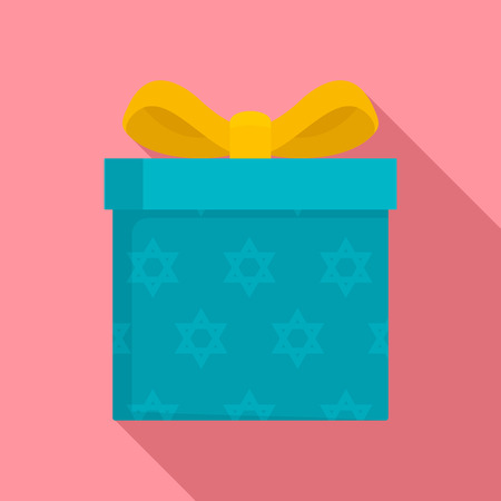 Jewish gift box icon, flat style
