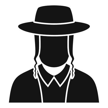 Jewish man face icon, simple style Vektorové ilustrace
