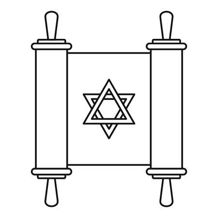 Torah papyrus icon, outline style