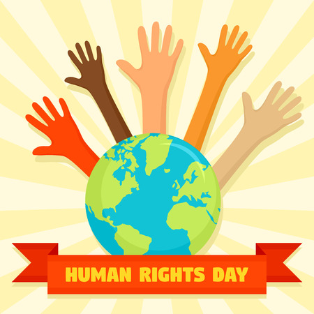 Global human rights day concept background, flat style