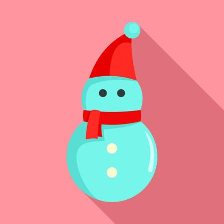 Snowman icon, flat style