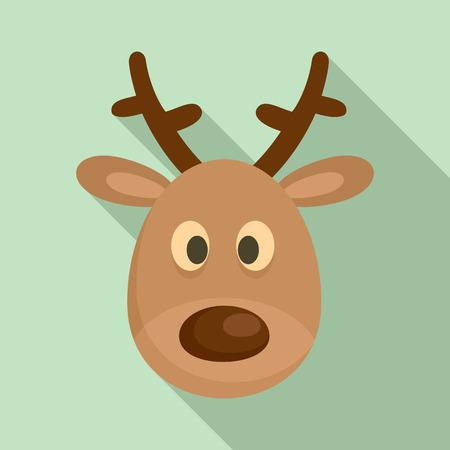 Deer head icon, flat style