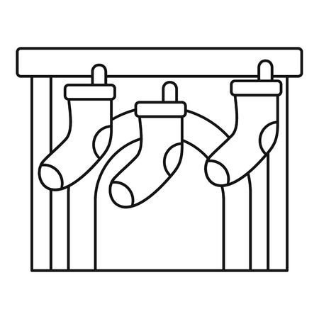 Xmas socks fireplace icon, outline style