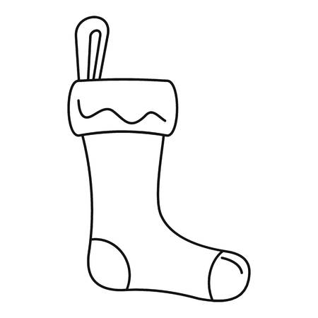 Winter sock icon, outline style Vector Illustration
