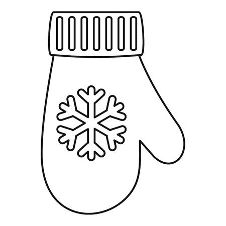 Icône de gant d'hiver, style de contour