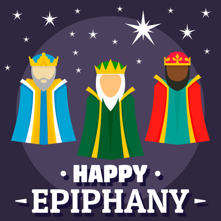 Holiday happy epiphany concept background, flat style