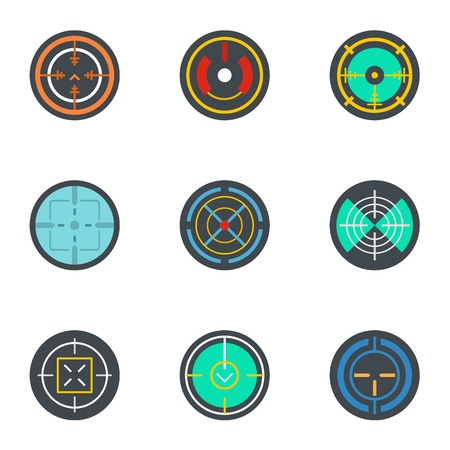 Army target icon set. Flat set of 9 army target icons for web design