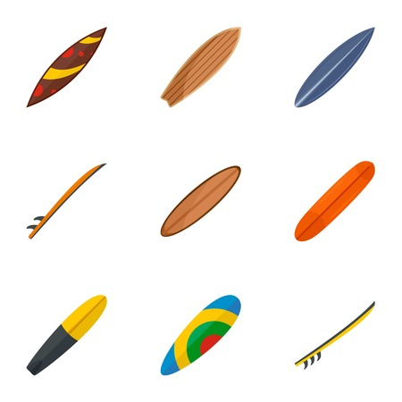 Fashion surf board icon set. Flat set of 9 fashion surf board icons for web design