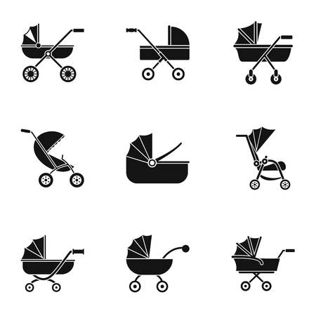 Baby stroller icon set. Simple set of 9 baby stroller icons for web design on white background Stock Photo