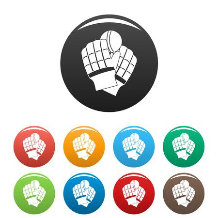 Cricket gloves icons set 9 color isolated on white for any design