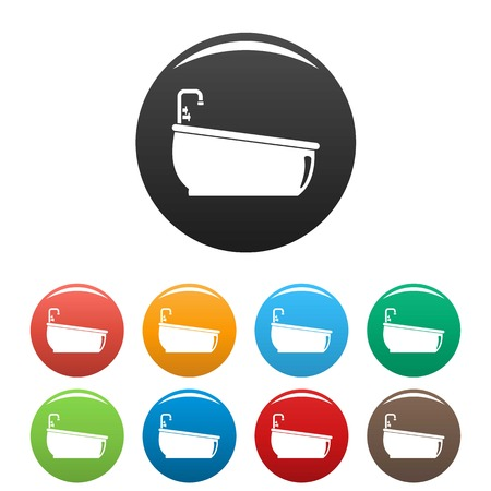 Bathtube water tap icons set color