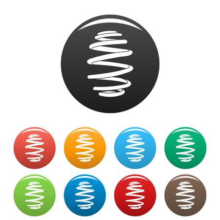 Wire coil icons set color