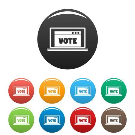 Online vote icons set color