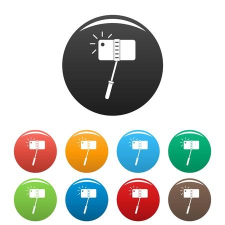 Take a photo at monopod icons set color