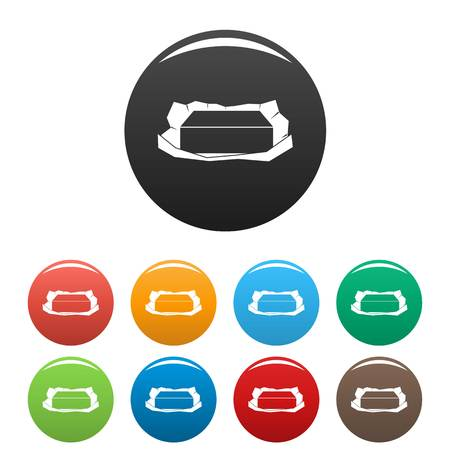 Open butter pack icons set color Stockfoto