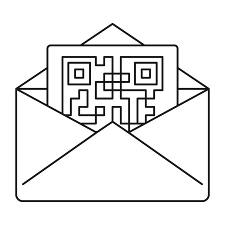 Secured envelope letter icon, outline style