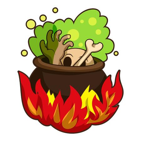 Boiling on fire cauldron icon, cartoon style Stock Photo