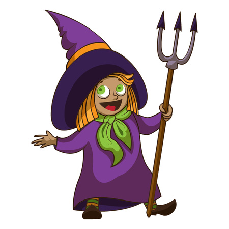 Happy kid witch icon, cartoon style