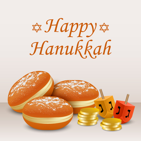 Happy hanukkah holiday concept background, realistic style