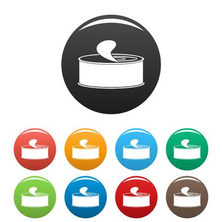 Open tin can icons set color