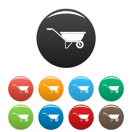 One wheel barrow icons set color