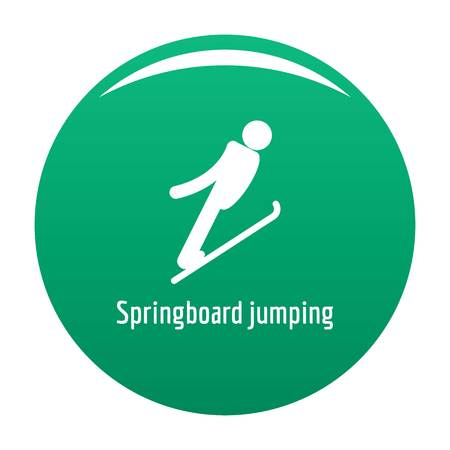 Springboard jumping icon green Banque d'images