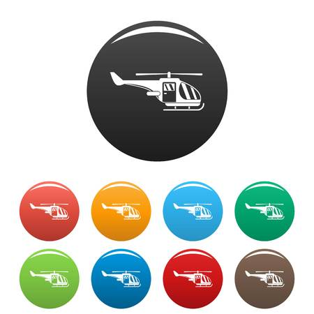 Military helicopter icons set color Stock Photo