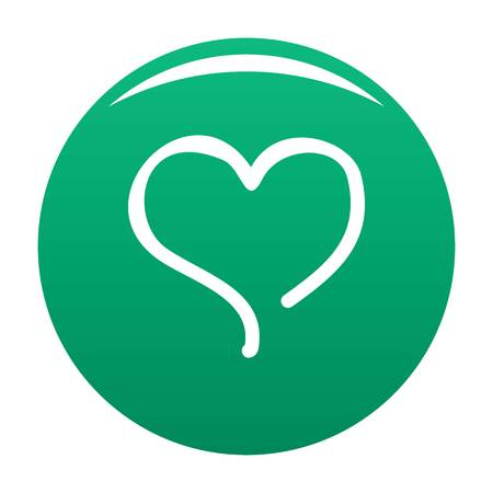 Sketch heart icon green