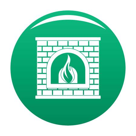 Retro fireplace icon. Simple illustration of retro fireplace vector icon for any design green Illustration