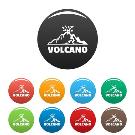 Volcano icons set color