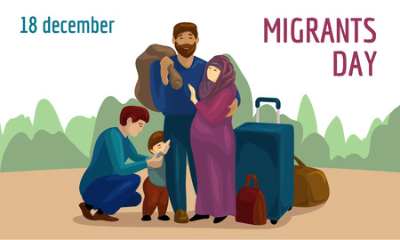 World migrants day concept banner. Cartoon illustration of world migrants day vector concept banner for web design Vectores