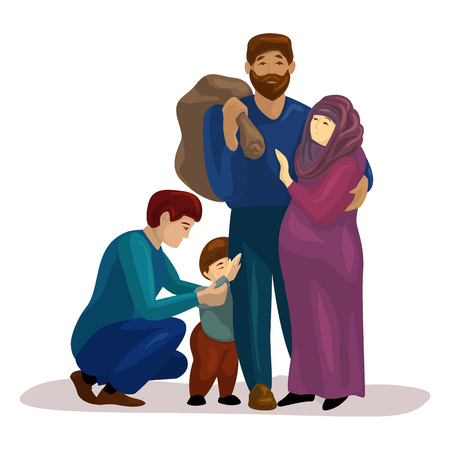 Migrant family escape icon, cartoon style