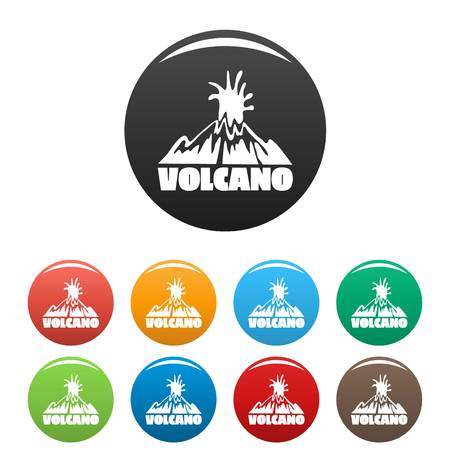 Volcano explosion icons set color