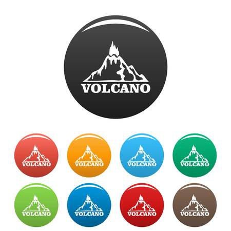 Fire volcano icons set color