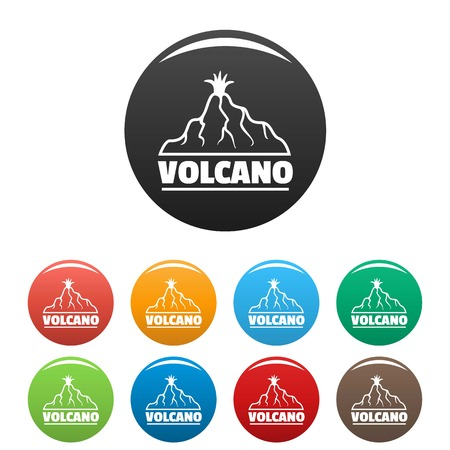 New volcano icons set color