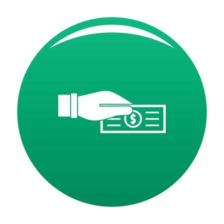 Take tax icon vector green Ilustração Vetorial