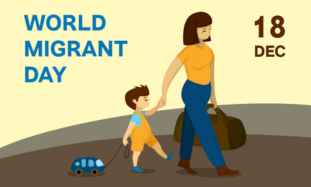 World migrant day concept banner. Cartoon illustration of world migrant day vector concept banner for web design