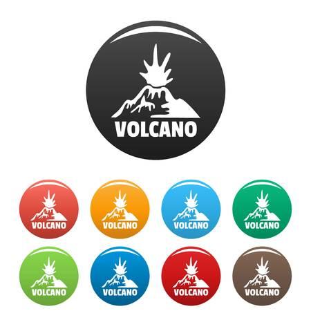 Erupting volcano icons set color Illustration