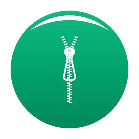 Metal zip icon vector green Illustration