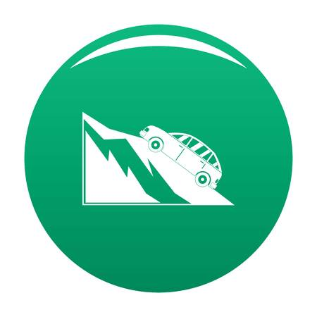 Mountain accident icon vector green