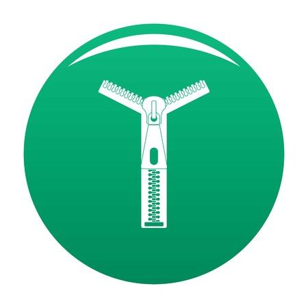 Opened zip icon vector green