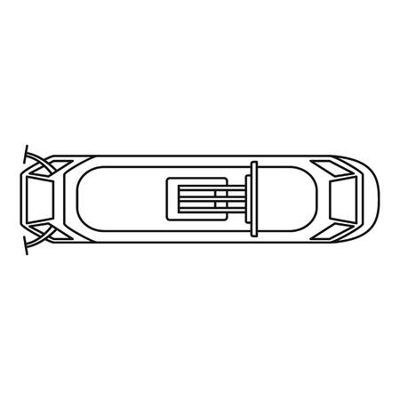Top view tram icon. Outline top view tram vector icon for web design isolated on white background