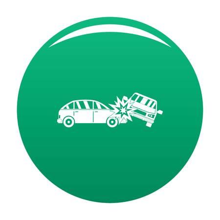 Crashed car icon vector green
