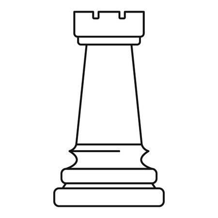 Icona della torre bianca, stile contorno Vettoriali