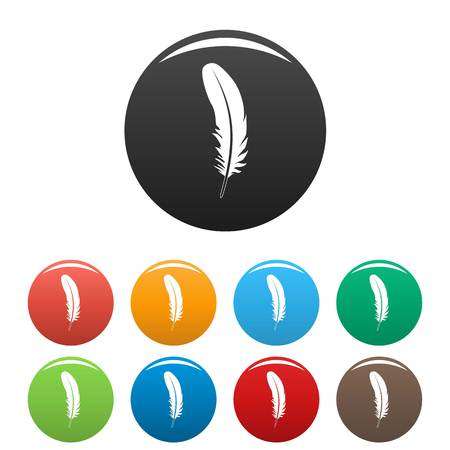Carnival feather icons set 9 color vector isolated on white for any design 向量圖像