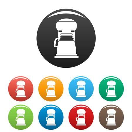 Classic coffee machine icons set color