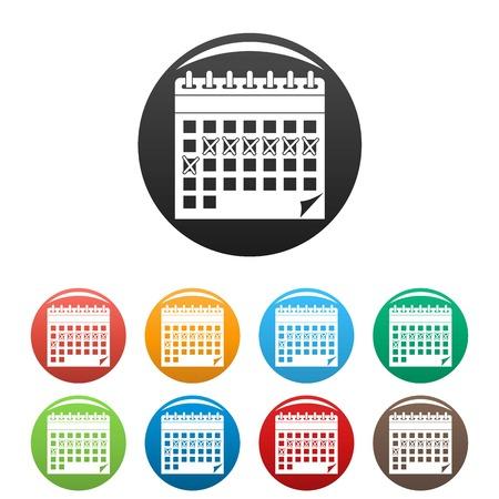 Contraceptive calendar icons set color